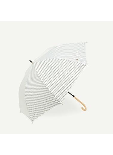 Yargıcı İnce Uzun Çizgili Şemsiye Beyaz